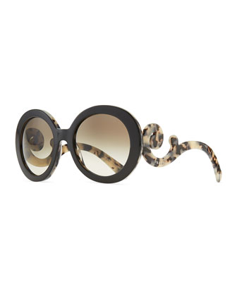Round Baroque Sunglasses, Black/White