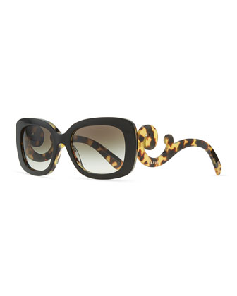 Square Baroque Sunglasses, Black Havana