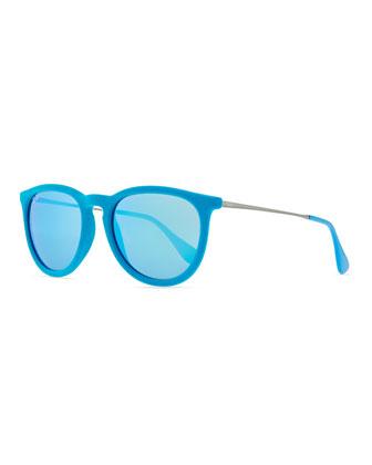 Erika Round Plastic Sunglasses, Azure