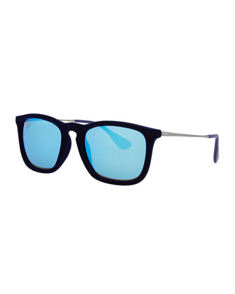 Chris Square Plastic Sunglasses, Black/Blue