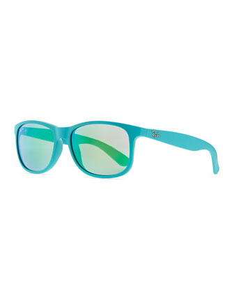 Plastic Square Sunglasses with Mirrored Lens, Light Blue