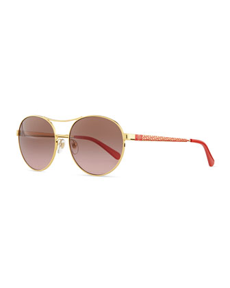 M Round Aviator Sunglasses, Gold/Red