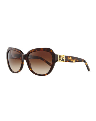 Plastic Cat-Eye Sunglasses, Dark Tortoise