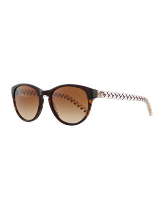 Plastic Cat-Eye Sunglasses with Logo Arms, Dark Tortoise