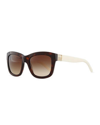 Two-Tone Plastic Square Sunglasses, Tortoise/White