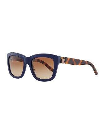 Two-Tone Plastic Square Sunglasses, Navy