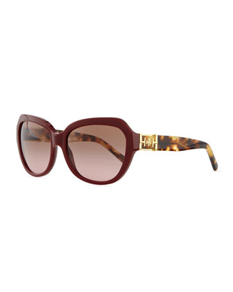 Plastic Cat-Eye Sunglasses, Bordeaux
