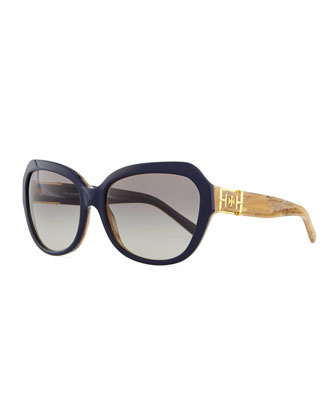 Two-Tone Plastic Cat-Eye Sunglasses, Navy