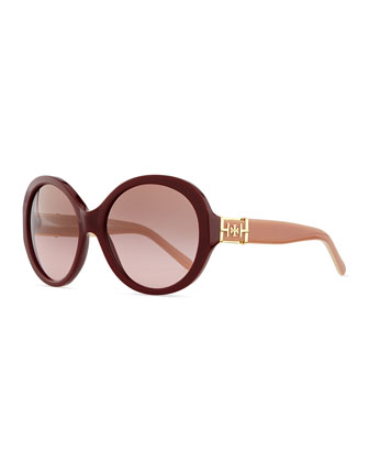 Plastic Rounded Cat-Eye Sunglasses, Bordeaux