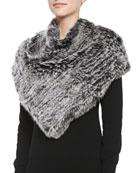 Triangular Rabbit Fur Poncho, Black Snow Top