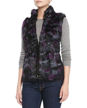 Reversible Camo-Rabbit-Fur Vest