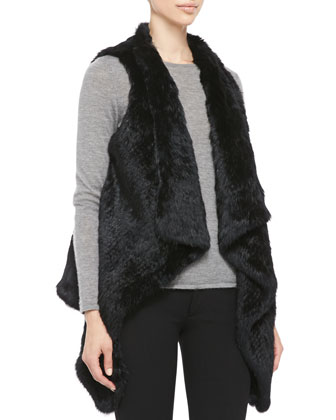 Asymmetric Rabbit Fur Vest