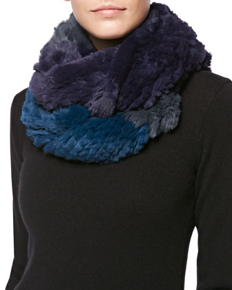 Colorblock Rabbit Fur Infinity Scarf, Iron/Fig/Spruce