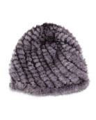 Mink Fur Tails Hat, Blue Iris