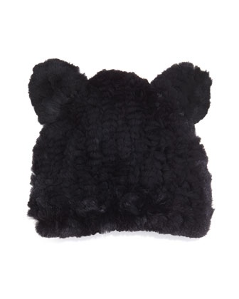 Fur Knit Hat With Ears, Black