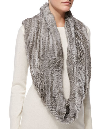 Rabbit Fur Infinity Scarf, Natural Gray