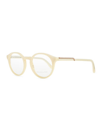 Round Acetate Fashion Glasses, Cream
