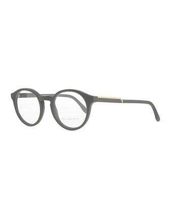 Round Acetate Fashion Glasses, Medium Gray