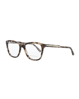 Square Acetate Fashion Glasses, Gray Tortoise