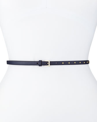 Dotcom Vitello Studded Belt, Marine Blue