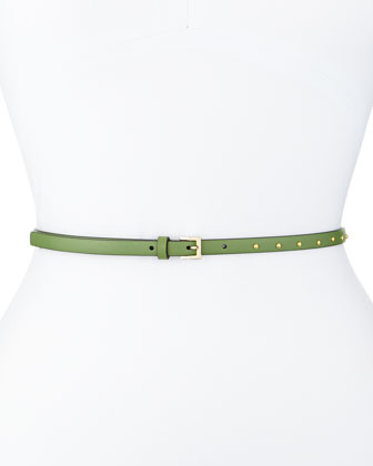 Dotcom Vitello Studded Belt, Clover Green