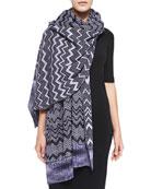 Zigzag Knit Stole, Purple