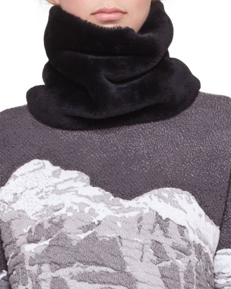 Shearling Fur Scarf, Black