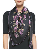 Flower-Painted Square Silk Scarf, Hyacinth Pink/Black