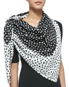 Heart-Print Silk Square Scarf, Black/White