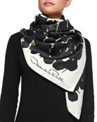 Silk Tulip-Print Scarf, Black