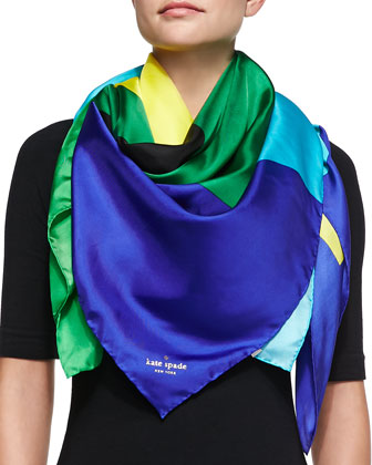 large colorblock silk scarf, kinetic turquoise