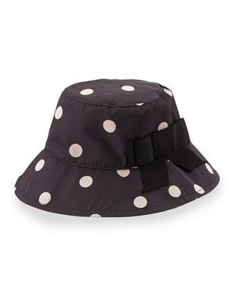 dot-print bucket hat, black/beige