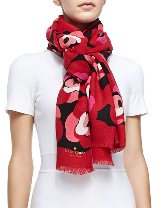 deco rose fringed knit scarf, orient red