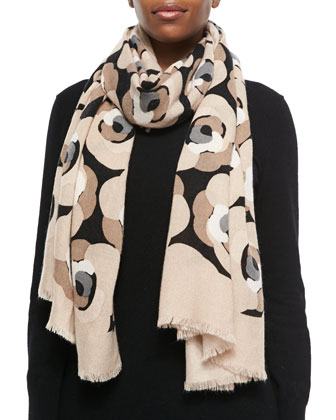 deco rose fringed knit scarf, neutral