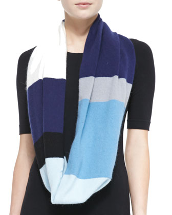 colorblock mohair-blend infinity scarf, navy blue/cream