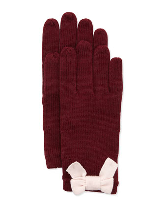 knit bow mohair-blend gloves