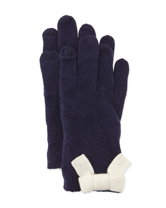 knit bow gloves, navy/cream