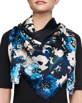 autumn floral-print silk scarf, blue