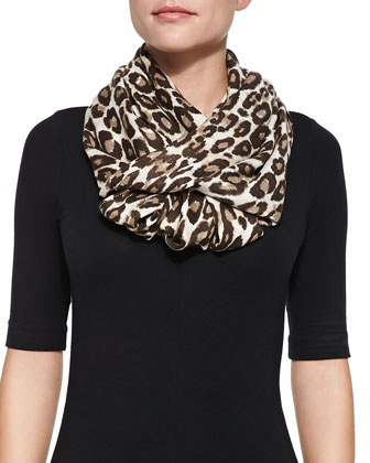 leopard-print infinity scarf, classic beige