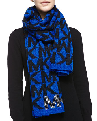 Logo Scarf with Pin-Dot Stud Detail, Amalfi Blue