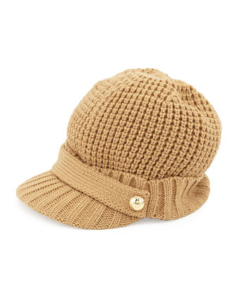 Logo-Button Knit Peak Hat
