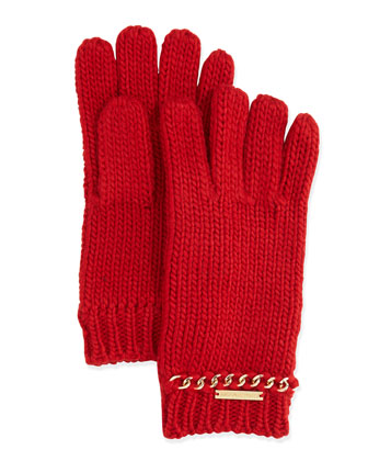 Knit Gloves with Chain Trim