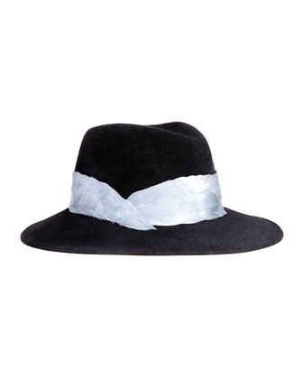 Bianca Felt Porkpie Hat with Feathers, Black