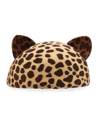 Caterina Cat-Ear Beret Cap, Leopard