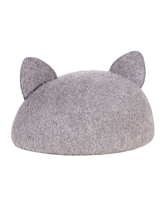Caterina Cat-Ear Cap, Heather Gray
