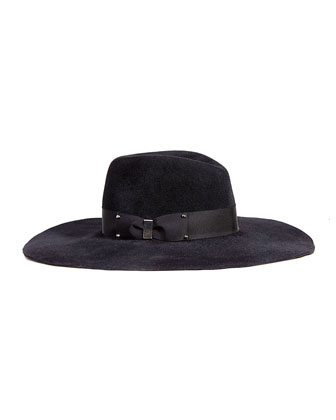 Bette Wide-Brim Fall/Winter Fedora, Black
