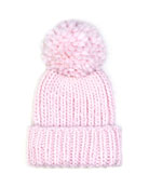 Rain Knit Hat with Pompom, Pale Pink