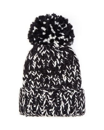 Rain Knit Hat with Pompom, Black/Cream