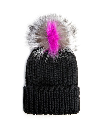 Rain Knit Hat with Fur Pompom, Black/Gray/Pink