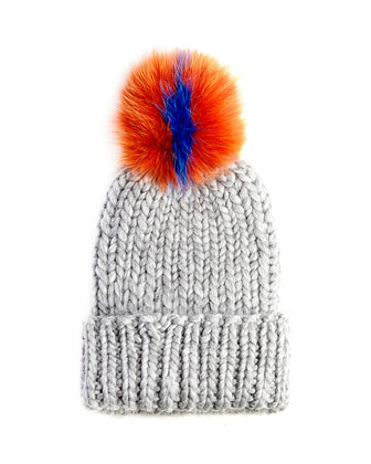 Rain Knit Hat with Fur Pompom, Gray/Orange/Blue